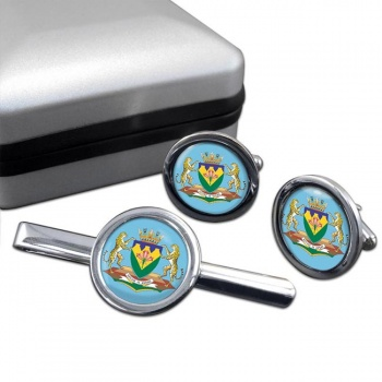 Free State (South Africa) Round Cufflink and Tie Clip Set