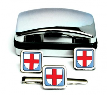 Freiburg im Breisgau (Germany) Square Cufflink and Tie Clip Set