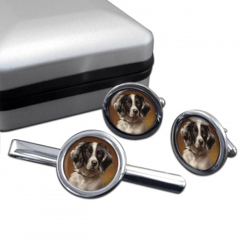 French Spaniel Cufflink and Tie Clip Set