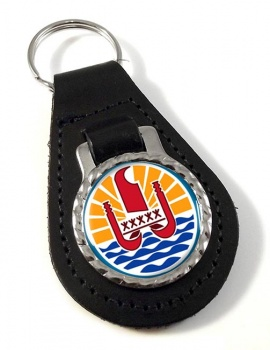 Polynesie francaise (French Polynesia) Leather Key Fob