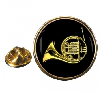 French Horn Round Pin Badge