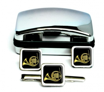 French Horn Square Cufflink and Tie Clip Set