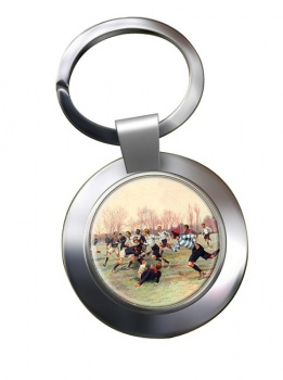 French Rugby at St. Cloud 1906 Chrome Key Ring