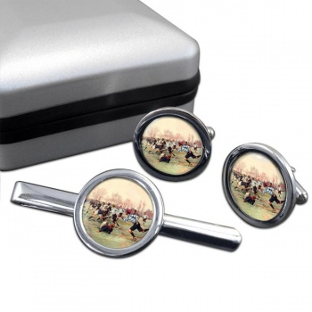 French Rugby at St. Cloud 1906 Round Cufflink and Tie Clip Set