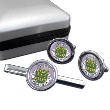 Funchal (Portugal) Round Cufflink and Tie Clip Set
