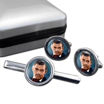 Clark Gable Round Cufflink and Tie Clip Set