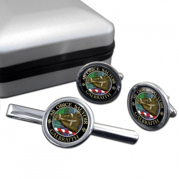 Galbraith Scottish Clan Round Cufflink and Tie Clip Set