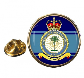 RAF Station Gan Round Pin Badge