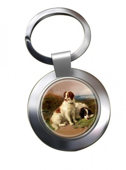 Two Spaniels by Henry Garland Metal Key Ring