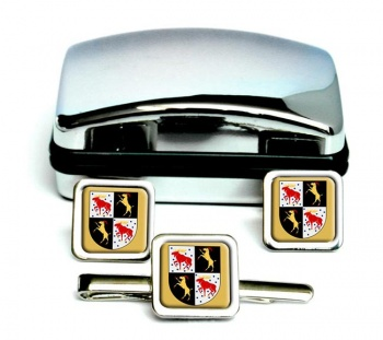 Gavleborg (Sweden) Square Cufflink and Tie Clip Set