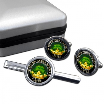 Gayre Scottish Clan Round Cufflink and Tie Clip Set