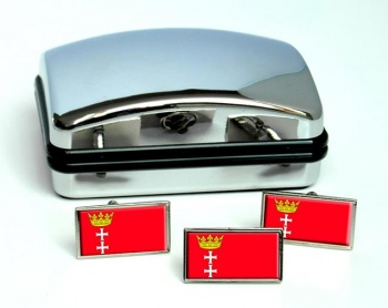 Gdansk (Poland) Flag Cufflink and Tie Pin Set