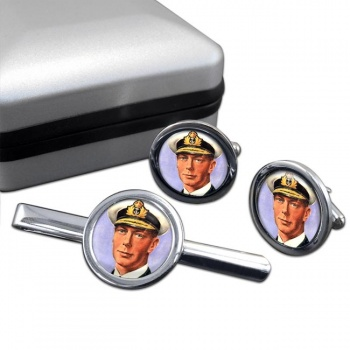King George VI of Great Britain Round Cufflink and Tie Clip Set