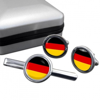 Deutschland Germany Round Cufflink and Tie Clip Set