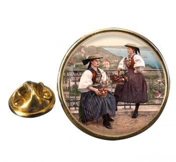 German National Costume Round Pin Badge
