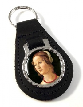 Young Woman by Domenico Ghirlandaio Leather Keyfob
