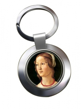 Young Woman by Domenico Ghirlandaio Chrome Key Ring