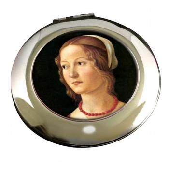 Young Woman by Domenico Ghirlandaio Round Mirror