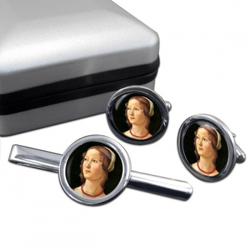 Young Woman by Domenico Ghirlandaio Round Cufflink and Tie Clip Set