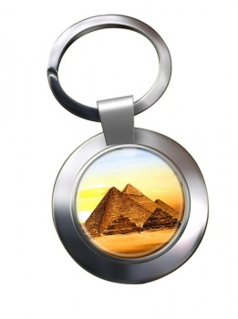Pyramids of Giza Chrome Key Ring