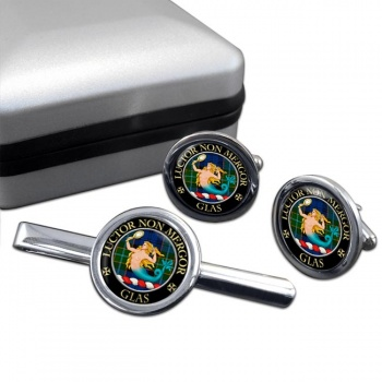 Glas Scottish Clan Round Cufflink and Tie Clip Set