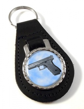 Glock 21 Pistol Leather Key Fob