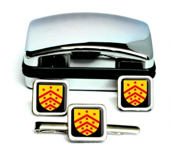 Gloucester (England) Square Cufflink and Tie Clip Set