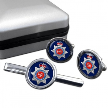 Gloucestershire Constabulary Round Cufflink and Tie Clip Set