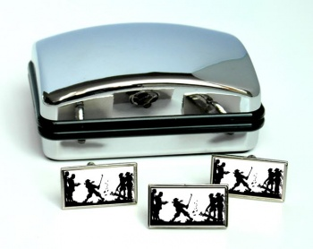 Golf In the Rough Rectangle Cufflink and Tie Pin Set