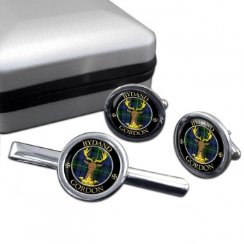 Gordon Scottish Clan Round Cufflink and Tie Clip Set