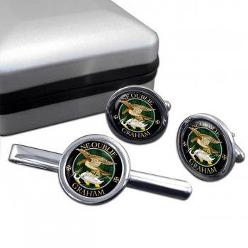 Graham Scottish Clan Round Cufflink and Tie Clip Set