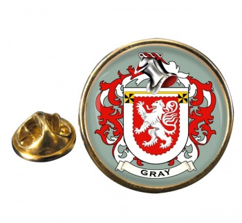 Gray Coat of Arms Round Pin Badge