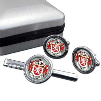 Gray Coat of Arms Round Cufflink and Tie Clip Set