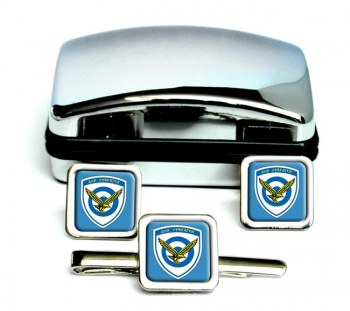 Hellenic Air Force (Greece) Square Cufflink and Tie Clip Set