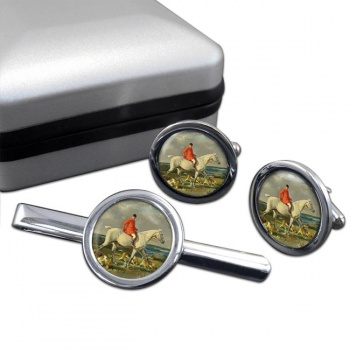 Grey Hunter Round Cufflink and Tie Clip Set