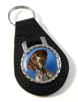 German Shorthaired Pointer Leather Key Fob