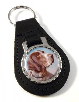 German Shorthaired Pointer by Carl Reichert Leather Key Fob
