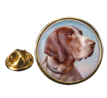 German Shorthaired Pointer by Carl Reichert Round Pin Badge