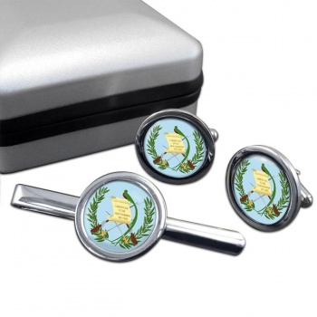 Guatemala Round Cufflink and Tie Clip Set