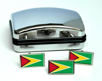 Guyana Flag Cufflink and Tie Pin Set
