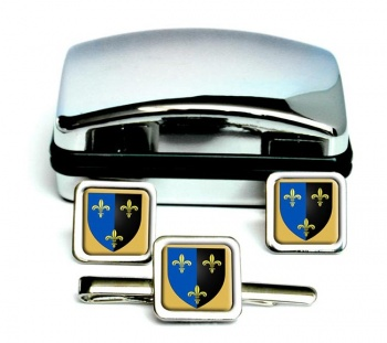 Gwent-Square Cufflink and Tie Clip Set