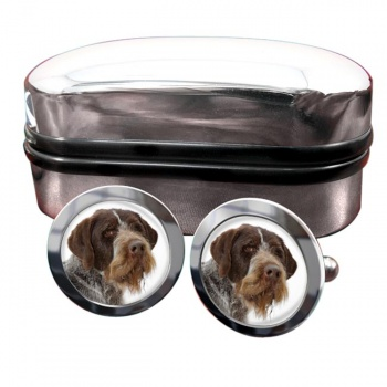 German Wirehaired Pointer  Round Cufflinks