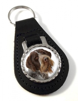 German Wirehaired Pointer Leather Key Fob