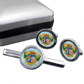 Gyor Round Cufflink and Tie Clip Set