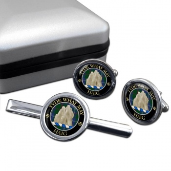 Haig Scottish Clan Round Cufflink and Tie Clip Set