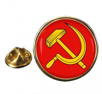 Hammer and Sickle Round Pin Badge