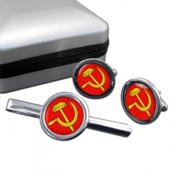 Hammer and Sickle Round Cufflink and Tie Clip Sert