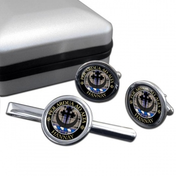 Hannay Scottish Clan Round Cufflink and Tie Clip Set