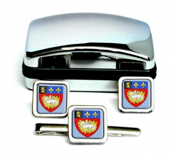 Le Havre (France) Square Cufflink and Tie Clip Set