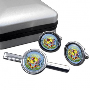 Hawaii  Round Cufflink and Tie Clip Set